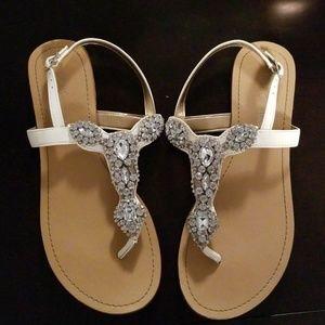 BCBG Rhinestone Thong sandals flats
